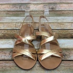J. Crew Cross-Strap Sandals – Metallic Gold – 8